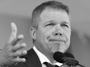 NATIONAL BASEBALL HALL OF FAME inductee Chipper Jones gestures while speaking during an induction ceremony at the Clark Sports Center on Sunday in Cooperstown, N.Y. THE ASSOCIATED PRESS