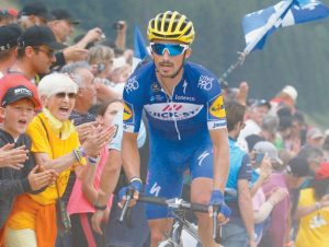STAGE WINNER France's Julian Alaphilippe rides breakaway during the 10th stage of the Tour de France cycling race, with the start in Annecy and finish in Le Grand-Bornand, France, on Tuesday. THE ASSOCIATED PRESS