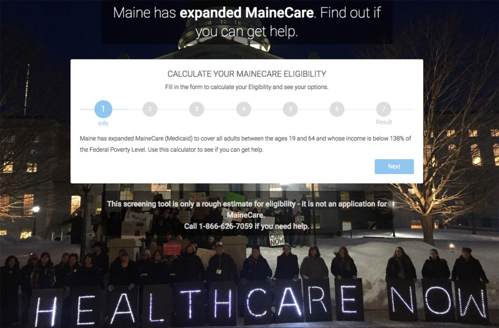 This image shows part of the Maine Equal Justice Partners Medicaid Expansion Guide available online.