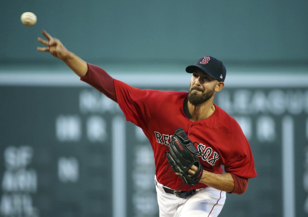 Boston's Rick Porcello delivers a pitch to the Yankees Friday night at Fenway Park. Porcello pitched a complete game and allowed one hit in beating New York 4-1 at Fenway Park in a game that lasted just 2 hours, 15 minutes.