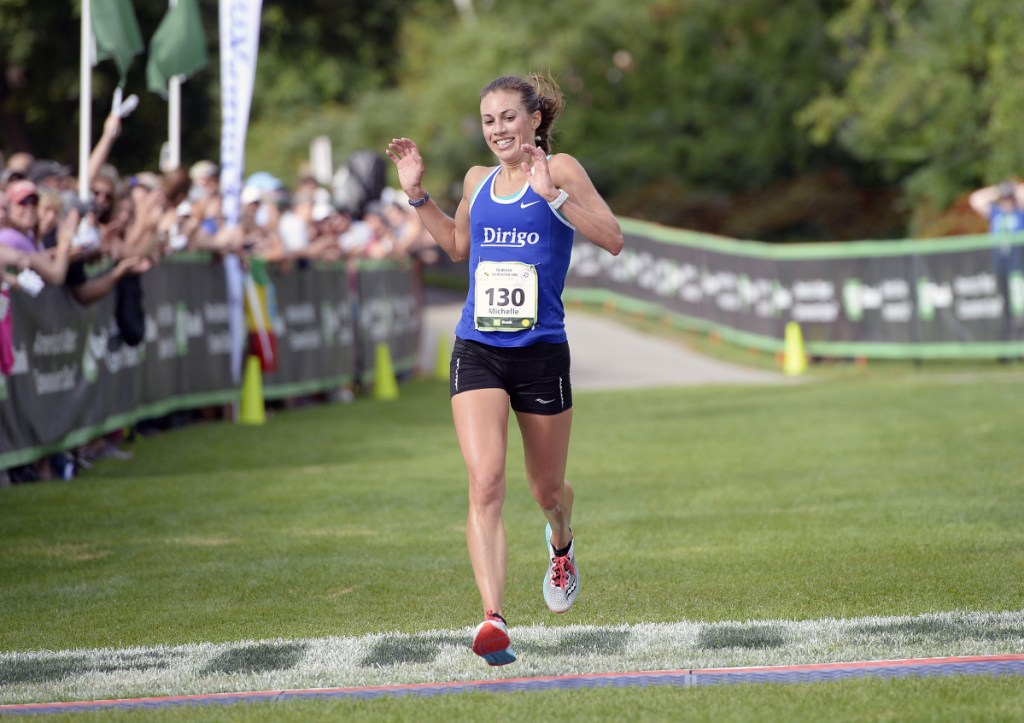 Portland's Michelle Lilienthal won the Maine women's title at the 2018 TD Beach to Beacon 10K on Saturday in Cape Elizabeth. (Staff photo by Shawn Patrick Ouellette/Staff Photographer)