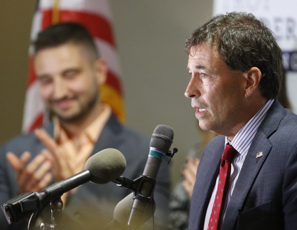 Troy Balderson, Republican candidate for Ohio's 12th Congressional District, speaks to a crowd of supporters during an election night party on Tuesday.