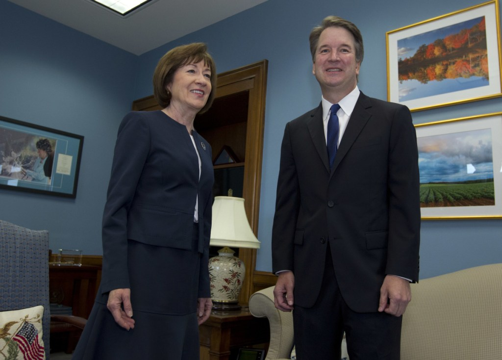 """Republican Sen. Susan Collins meets with Supreme Court nominee Brett Kavanaugh at her office on Capitol Hill in Washington. """"We had a very good, thorough discussion,"""" the Maine lawmaker said."""