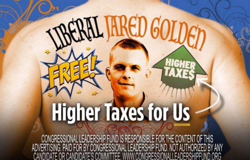 "A new TV ad criticizing Democrat Jared Golden's record ends with a shot of a man's back with a tattoo-like image headlined ""Liberal Jared Golden."""