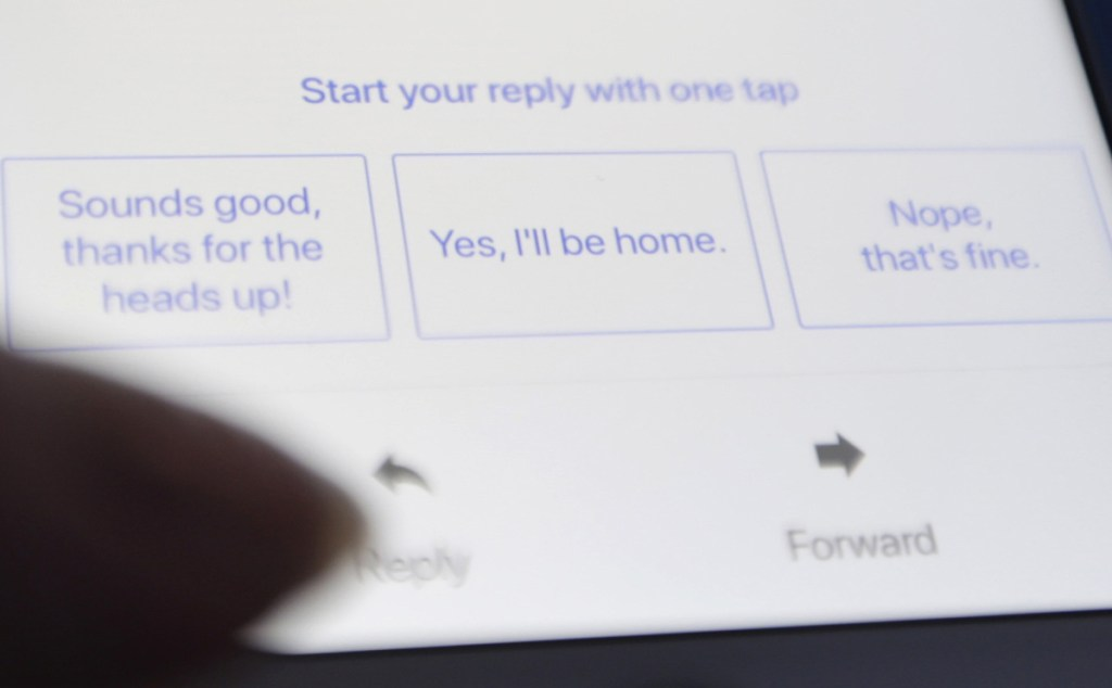 The latest version of Gmail offers a set of automated replies for users to choose from, based on data Google gleans from the text of emails and subject lines.