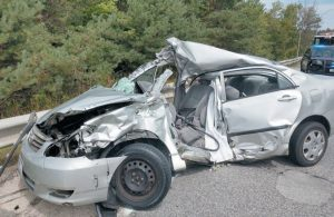 A 16-YEAR-OLD DRIVER from Freeport was injured after his car struck a tractor trailer truck on Interstate 295 southbound in Freeport late Wednesday morning. MAINE STATE POLICE PHOTO
