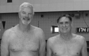 A PAIR OF MID COAST swimmers — Dave Bright (left), and Fred Schlicher — recently competed in the Pan Am Masters Swim Championships in Orlando, Florida. SUBMITTED PHOTO