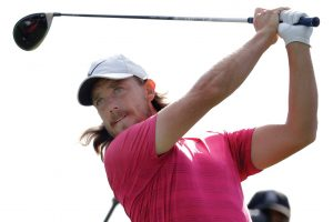 TOMMY FLEETWOOD tees off on the 13th hole during the first round of the Northern Trust golf tournament on Thursday in Paramus, N.J. There is a four-way tie at the top as the PGA playoffs began for the quest for the FedEx Cup. THE ASSOCIATED PRESS