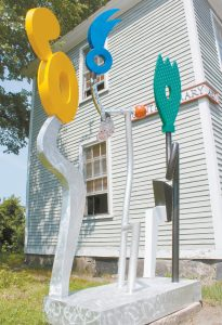 CHARLIE HEWITT'S 10-foot-tall aluminum sculpture outside of ICON Contemporary Art on Mason Street. EMILY COHEN / THE TIMES RECORD