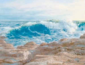 """POUNDING SURF AT SCHOODIC,"" oil, by Sandy Harper. IMAGE COURTESY OF KEFAUVER STUDIO & GALLERY"