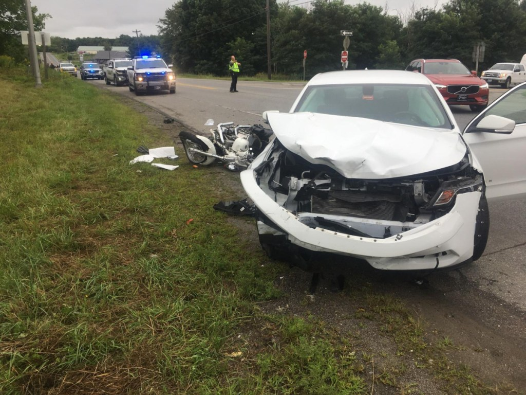 A 2017 Chevrolet Impala struck a 2003 Indian Scout motorcycle on Interstate 95 near the northbound off-ramp in Palmyra on Saturday morning, according to Chief Deputy James Ross of the Somerset County Sheriff's Office. The motorcyclist was seriously injured and taken to Sebasticook Valley Hospital in Pittsfield.