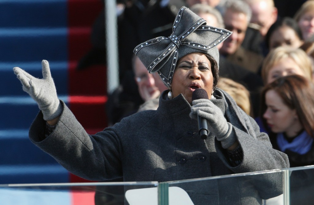 Aretha Franklin performs at the inauguration of President Obama at the U.S. Capitol in Washington in 2009. Franklin died Aug. 16, 2018, at her home in Detroit.