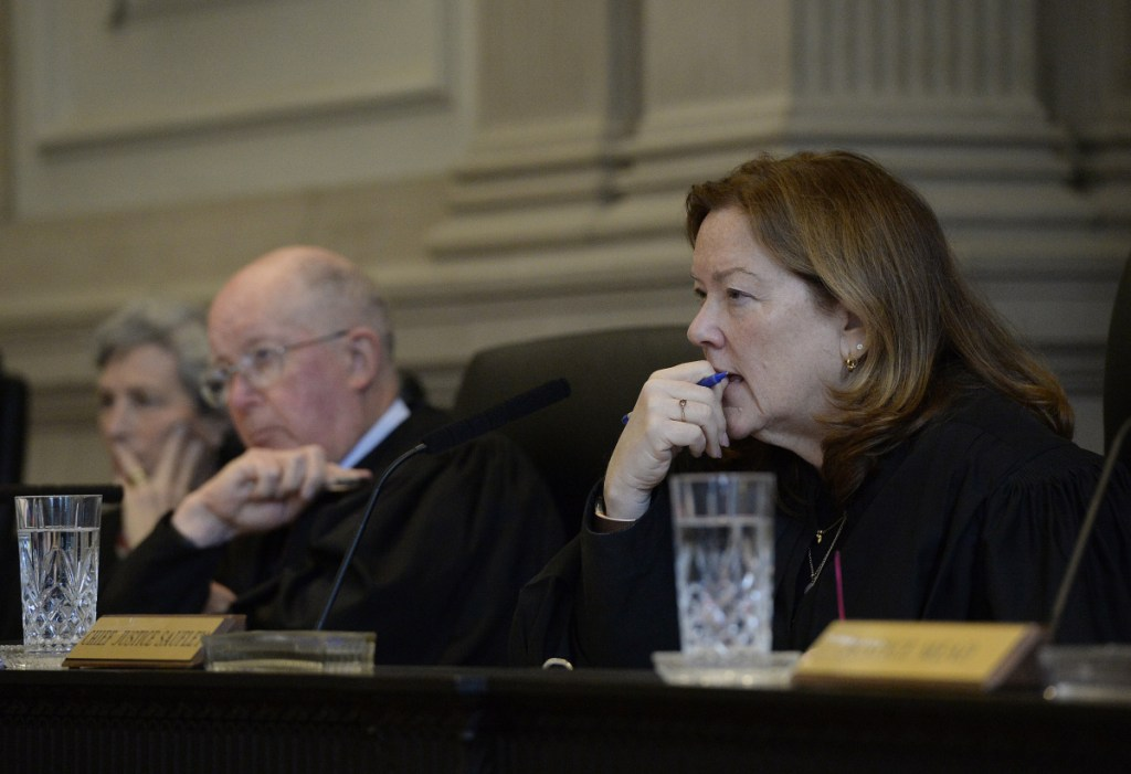 Chief Justice Leigh Saufley of the Maine Supreme Judicial Court listens to arguments in the case against Anthony Lord on Wednesday in Portland.