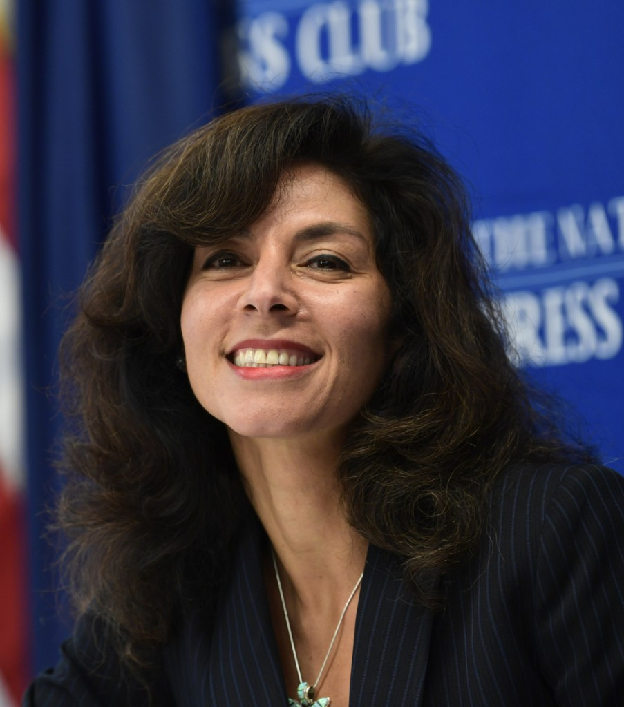 Ashley Tabaddor, a federal immigration judge in Los Angeles, is introduced to speak at the National Press Club ​on Friday.