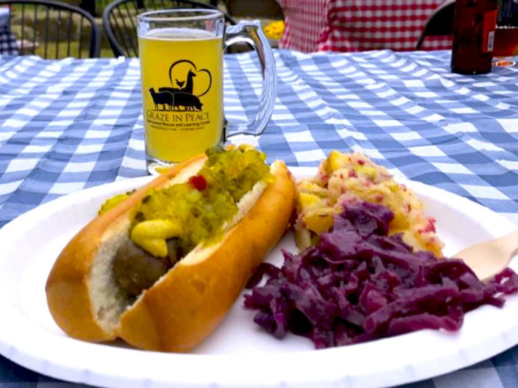 The Oktoberfest menu at Graze in Peace includes vegan Tofurky sausages, German potato salad, German cabbage salad and three varieties of vegan beer from Allagash.