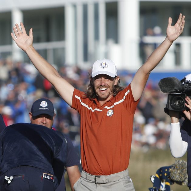 Europe's Tommy Fleetwood celebrates after winning a foursome match at the 42nd Ryder Cup outside Paris, France in Saturday.