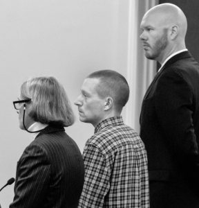 SCOTT A. BUBAR, center, is flanked by his attorneys, Lisa Whittier, left, and Scott Hess, during a bail hearing at the Capital Judicial Center in Augusta in this November 2017 file photo. KENNEBEC JOURNAL FILE PHOTO