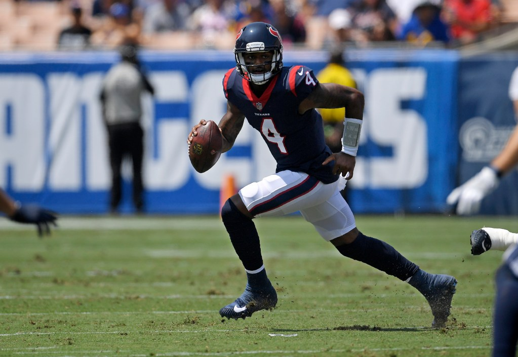 Deshaun Watson makes his return for the Houston Texans against the New England Patriots on Sunday. Watson suffered a season-ending injury in November.