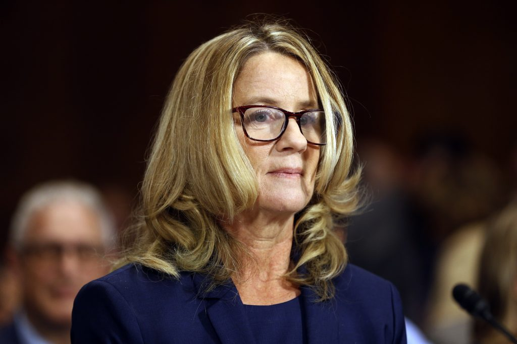 Christine Blasey Ford arrives to testify before the Senate Judiciary Committee on Thursday.