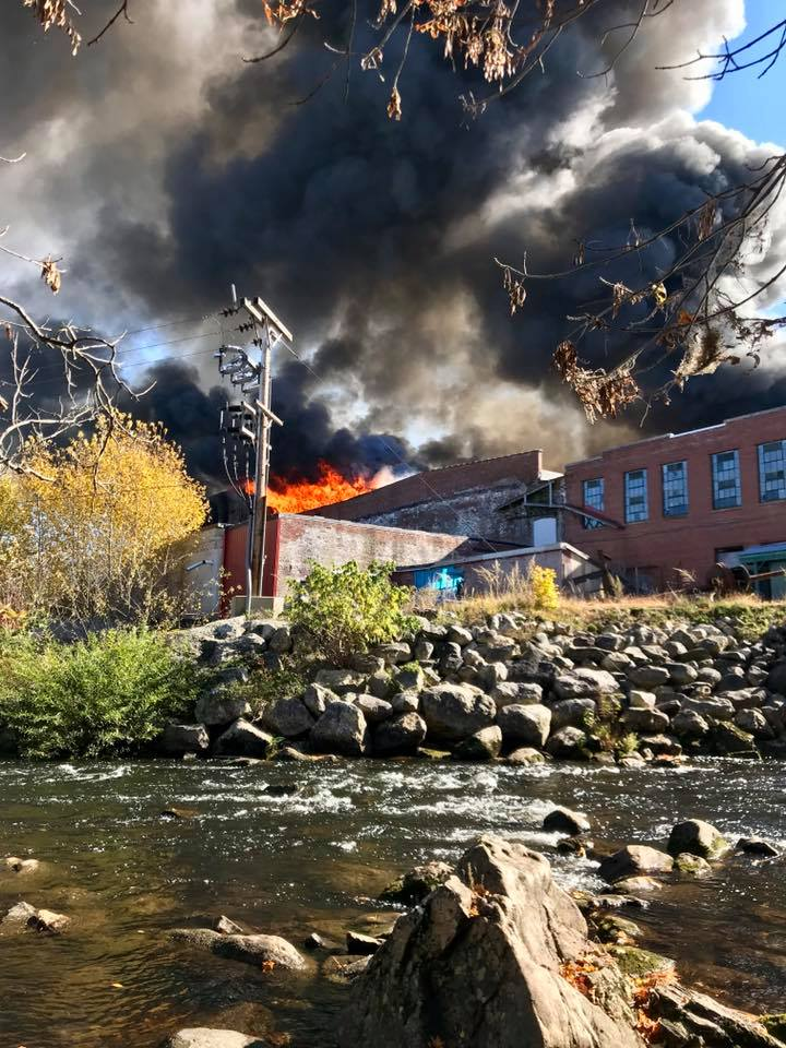 Watch aerial video: Massive fire destroys large old mill