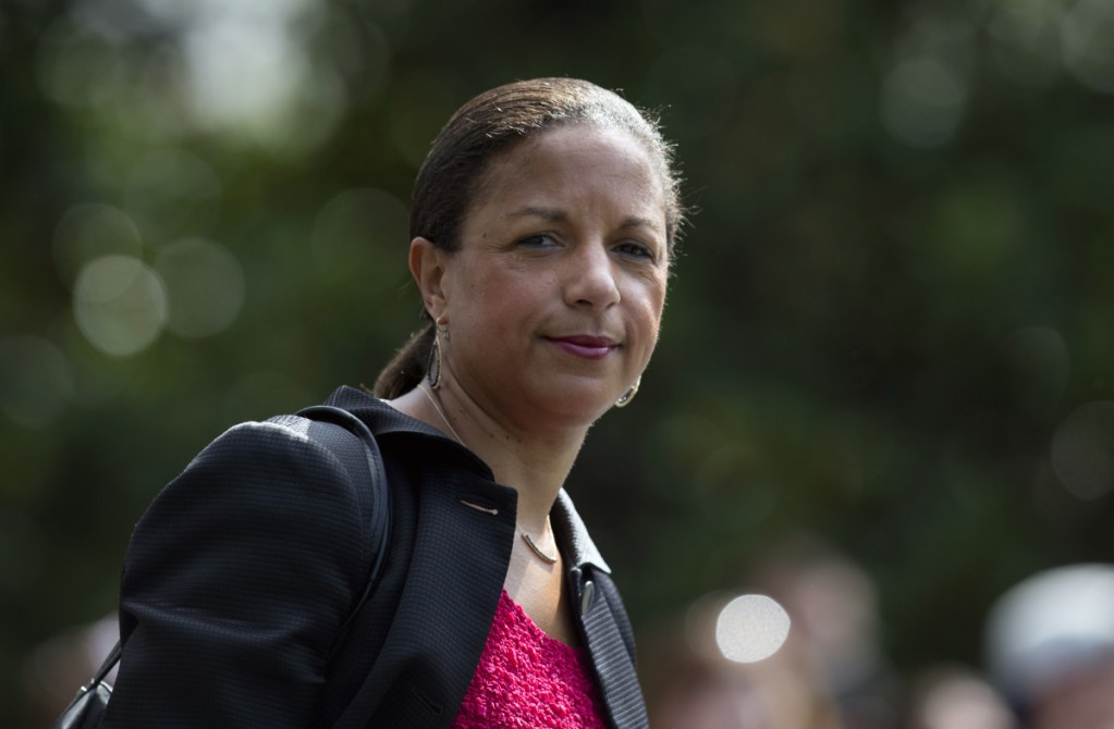 Susan Rice follows then-President Barack Obama across the South Lawn of the White House in Washington to board Marine One. On Sunday Rice said she'll decide after the midterm elections whether to run for the Senate from Maine in 2020. Rice is weighing whether to try to unseat Republican Sen. Susan Collins, whose decision to support Brett Kavanaugh was key to his confirmation to the Supreme Court.