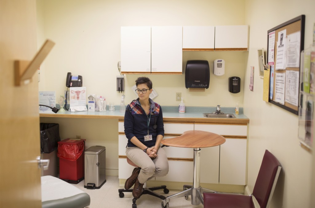 At the Belfast women's health clinic where she is a nurse practitioner student, Samantha Paradis, 27, reflects on a recent trip to Washington, D.C., where she and other Maine women hoped to share personal and difficult experiences with Sen. Susan Collins ahead of her vote in the contentious Supreme Court confirmation process. No meeting took place.