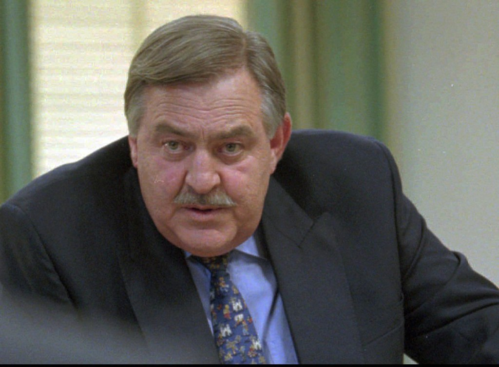 Former Foreign Minister Pik Botha attends a news conference in 1996 in Cape Town, South Africa. Botha, the last foreign minister of South Africa's apartheid era, died Friday at age 86.