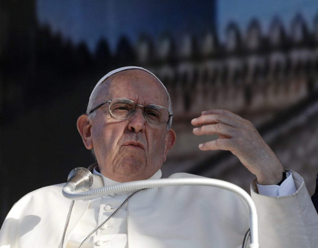 Pope Francis speaks during a meeting with youths in Palermo, Italy, on Sept. 15.