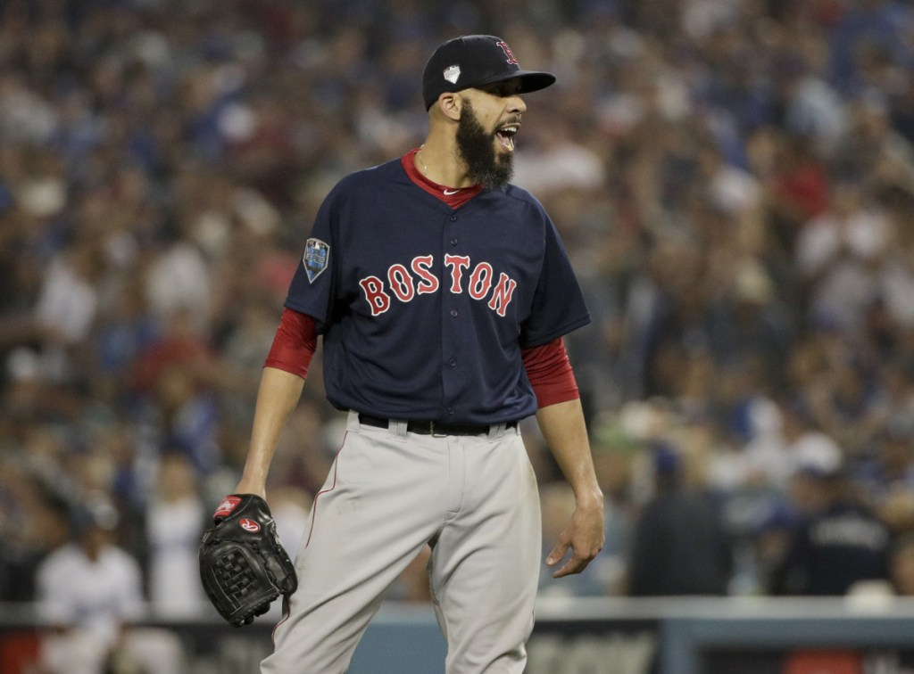 Red Sox starting pitcher David Price celebrates the end of the seventh inning of Game 5 of the World Series against the Los Angeles Dodgers on Sunday in Los Angeles.
