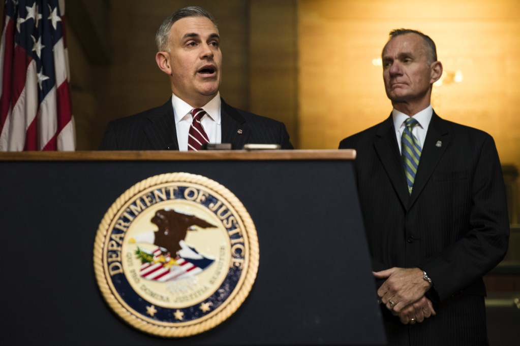 United States Attorney Scott Brady, left, accompanied by FBI Pittsburgh special agent in charge, Bob Jones, speak during a news conference on Monday in the aftermath of a deadly shooting at the Tree of Life Synagogue in Pittsburgh.