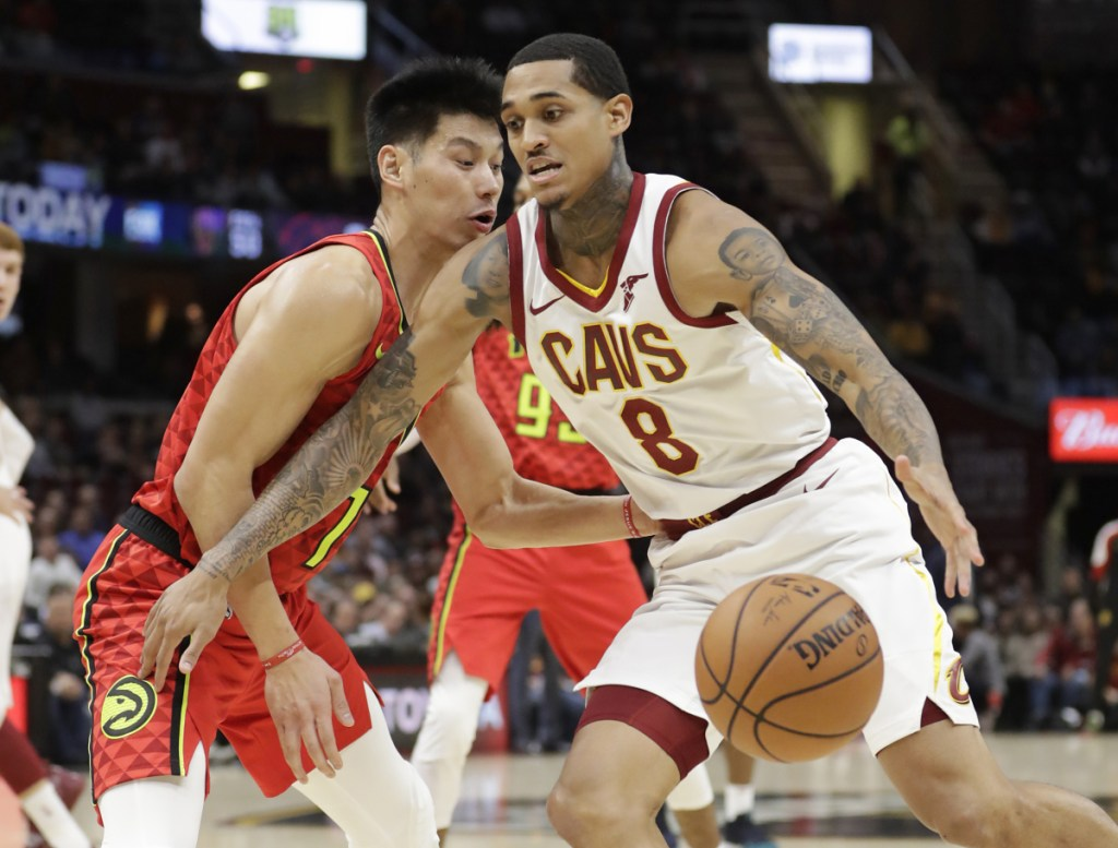 Cleveland's Jordan Clarkson drives past Atlanta's Jeremy Lin in the first half Tuesday night in Cleveland.