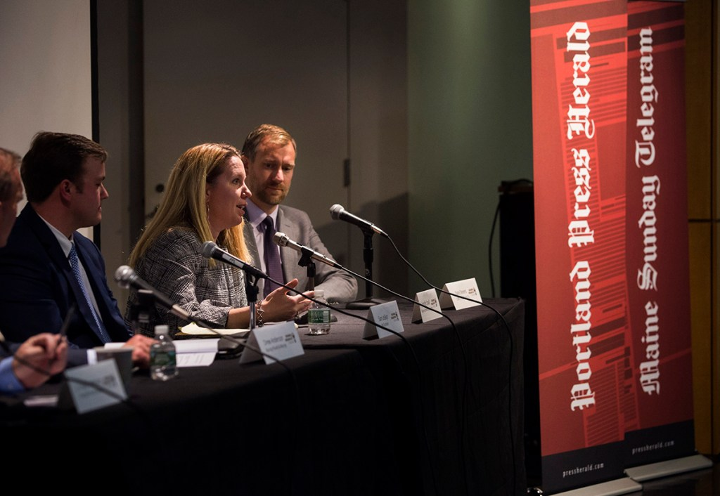 Jennifer Small, an associate broker at Malone Commercial Brokers, speaks at a Business Breakfast Forum at the Portland Public Library on Wednesday, Oct. 17, 2018.