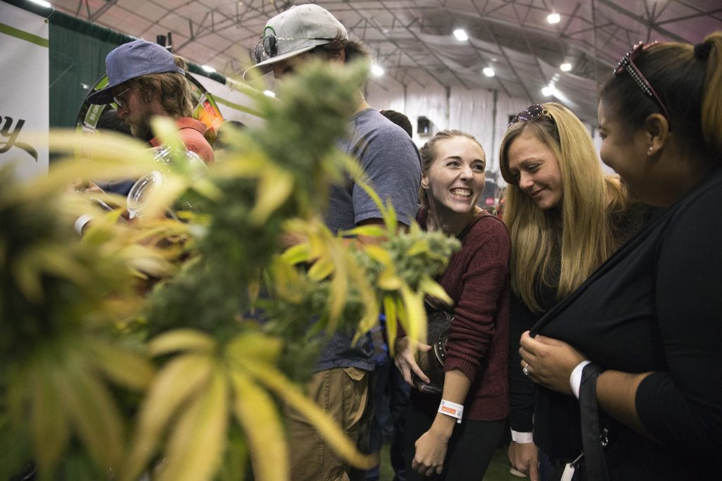 People wait in a line at the Maine Cannabis Convention in 2017 in Portland. This year's convention is scheduled this weekend at the Portland Sports Complex.