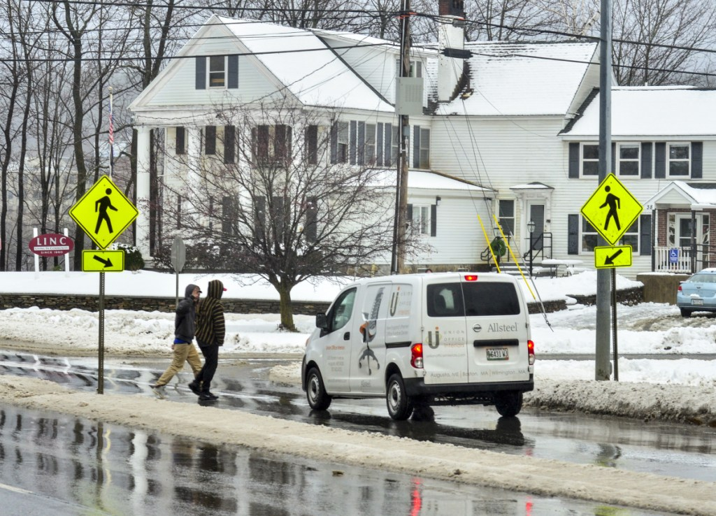 A crosswalk and the LINC Wellness & Recovery Center are seen Tuesday at corner of Memorial Drive and Gage Street near the Memorial Bridge in Augusta. Dana Williams, 60, was struck and killed by a truck near the crosswalk Monday night.