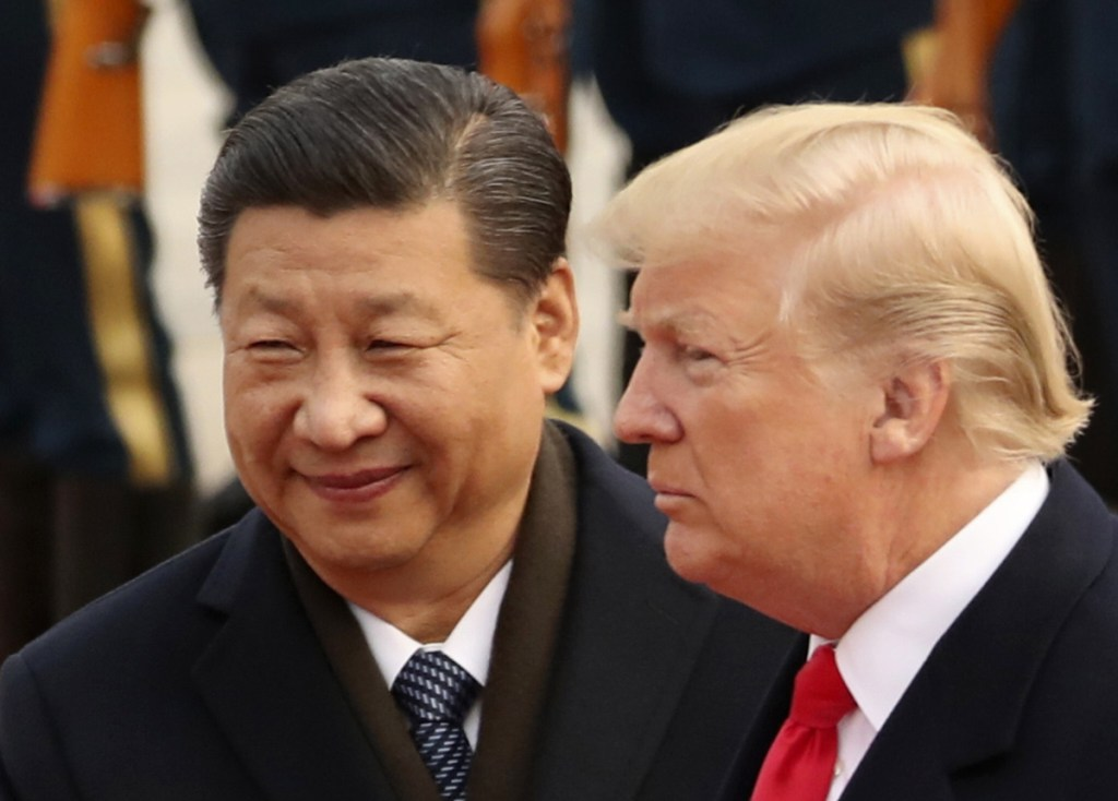 President Trump and Chinese President Xi Jinping participate in a welcome ceremony at the Great Hall of the People in Beijing in 2017.