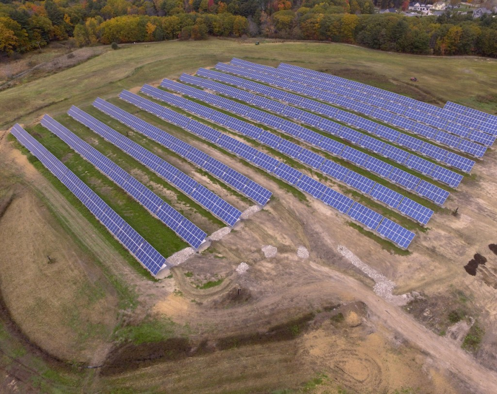 Portland's solar power array is shown as it nears completion after delays to fix the landfill beneath it in 2018.