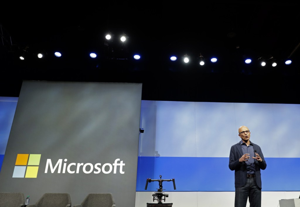 Associated Press/Ted S. Warren Microsoft CEO Satya Nadella speaks during the annual Microsoft Corp. shareholders meeting Friday in Bellevue, Wash. Microsoft surpassed Apple as the world's most valuable publicly traded company. Under Nadella Microsoft has found stability by moving away from its flagship Windows operating system and focusing on cloud-computing services with long-term business contracts.