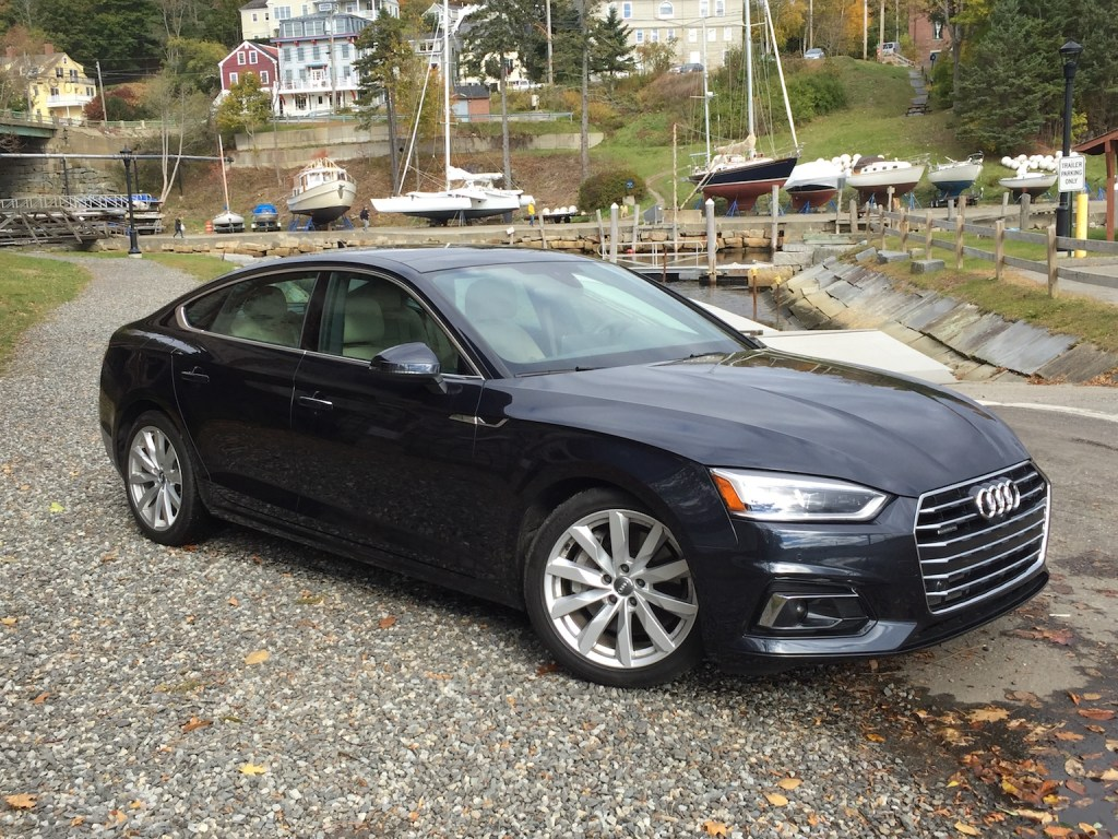 The A5 Sportback's svelte profile and handsome grille are reminiscent of the A7, which debuted the five-door body style several years ago. (Photo by Tim Plouff)