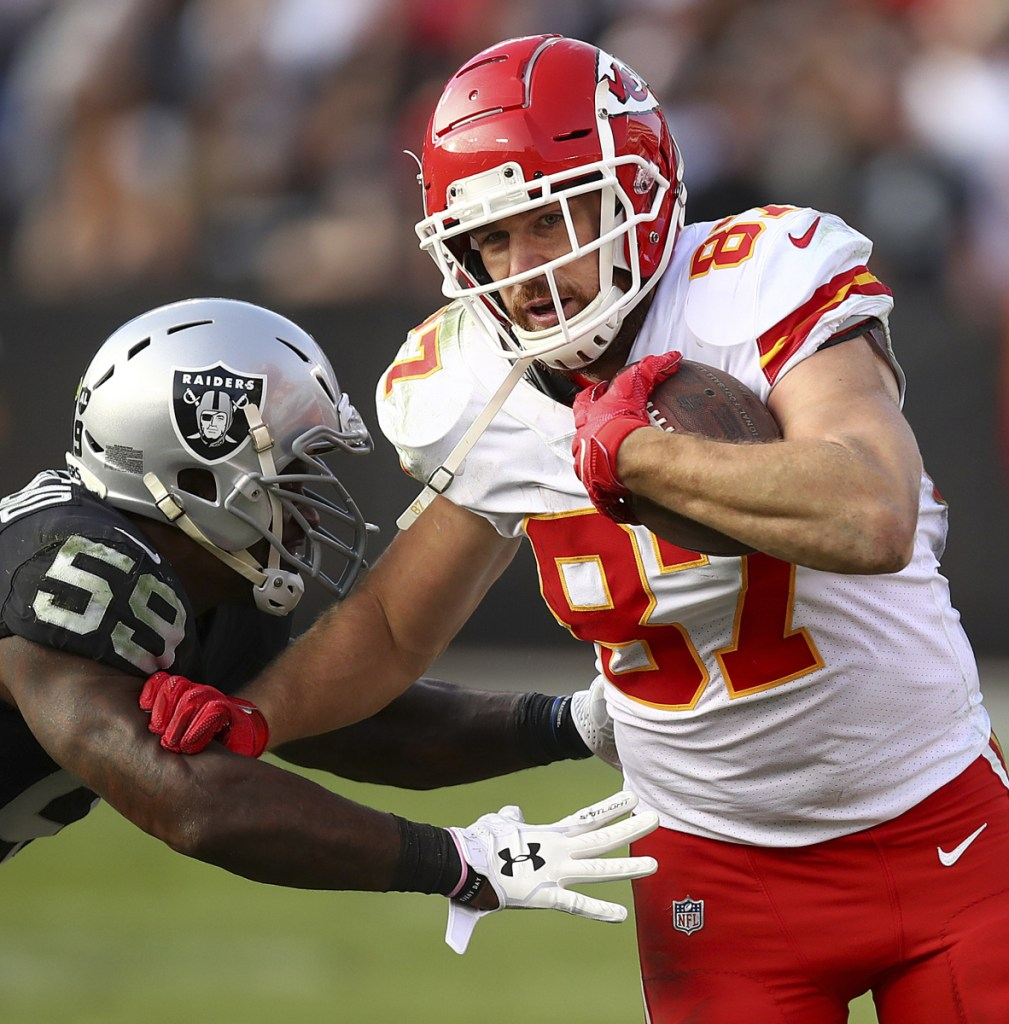 Chiefs tight end Travis Kelce carved up Oakland's defense on Sunday, finishing with 12 catches for 168 yards and a touchdown.