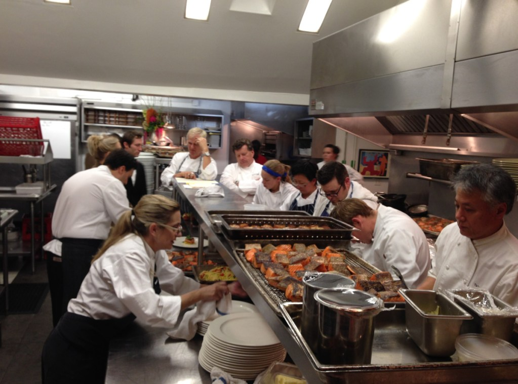 "Chefs Clark Frasier and Mark Gaier prepare the 25th anniversary dinner for their former restaurant Arrows in Ogunquit in 2013 with the help of some fellow ""Top Chef Masters"" contestants. Frasier and Gaier say one of the best parts of doing the show was the friends they made."