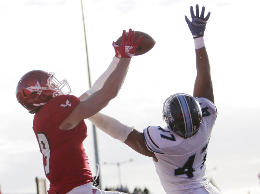 Jayce Gilder, left, and his Eastern Washington team were a step ahead of Deshawn Stevens and the Black Bears on Saturday.