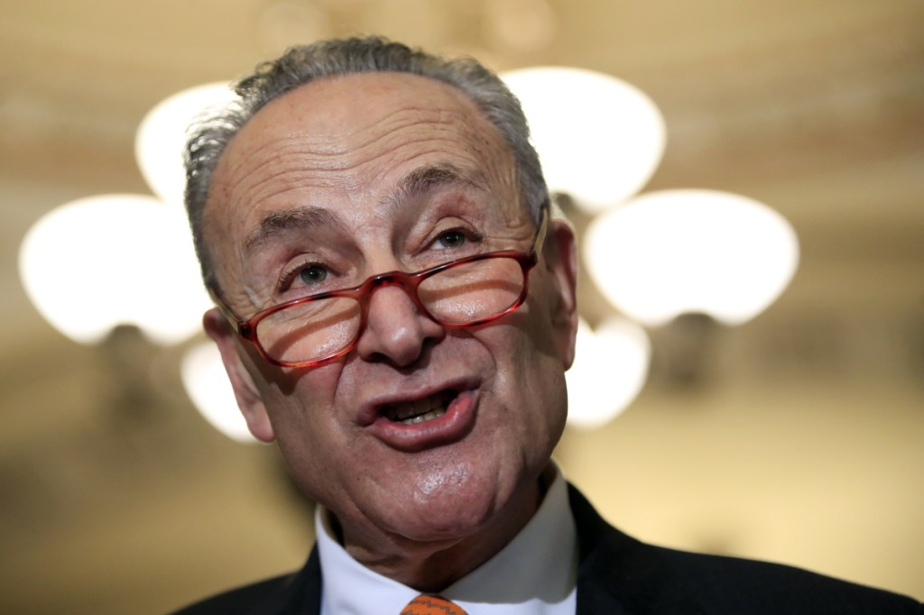 """Senate Democratic Leader Chuck Schumer, D-N.Y., said Tuesday that Democrats would not accept a billion-dollar """"slush fund"""" for President Trump's border wall. Republicans had proposed $1.6 billion for border fencing and another $1 billion for Trump to spend at the border."""