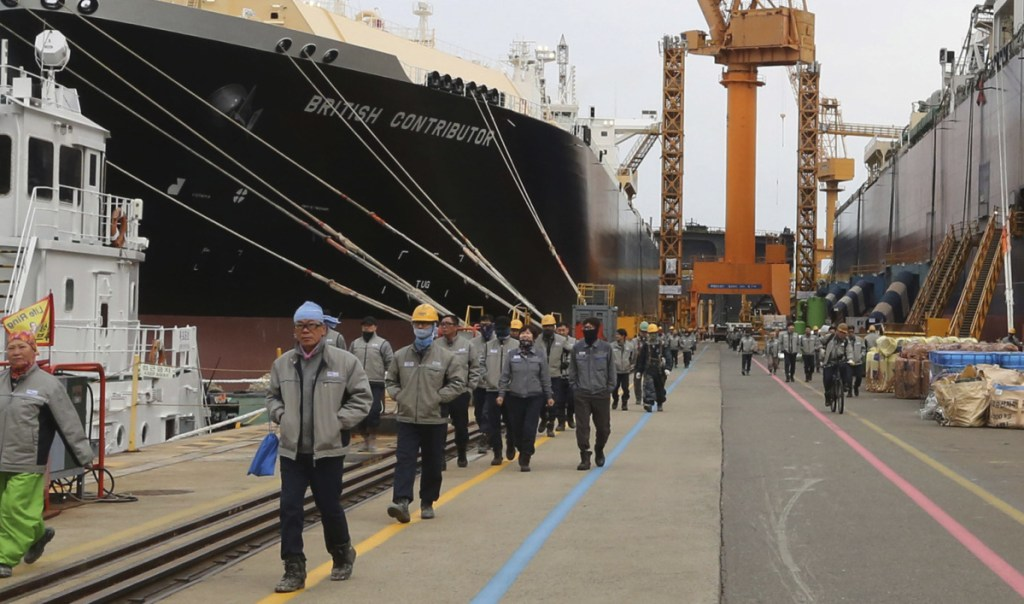 Liquefied natural gas carriers undergo construction at Daewoo Shipbuilding in South Korea as the company works to meet demand from shippers.