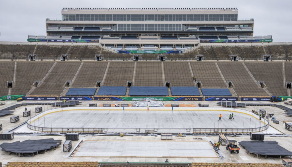 It takes a lot of work to convert a 78,000-seat football stadium into a hockey rink. Notre Dame Stadium in South Bend, Ind., is set to host the Bruins and Blackhawks on Tuesday in the NHL's Winter Classic.