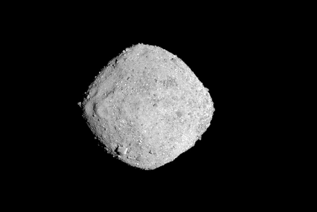 This Nov. 16, 2018, image provide by NASA shows the asteroid Bennu. After a two-year chase, a NASA spacecraft has arrived at the ancient asteroid Bennu, its first visitor in billions of years. The robotic explorer Osiris-Rex pulled within 12 miles (19 kilometers) of the diamond-shaped space rock Monday, Dec. 3. The image, which was taken by the PolyCam camera, shows Bennu at 300 pixels and has been stretched to increase contrast between highlights and shadows.