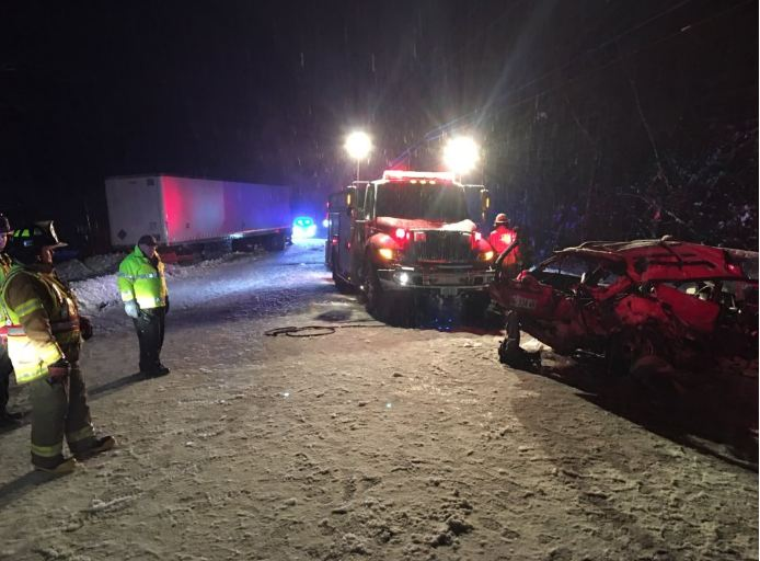 Leroy Gordon, 76, of Farmington died Friday in Lewiston from injuries he suffered in this collision between a car and a tractor-trailer on Route 27 in Kingfield on Nov. 27. His grandson, Seth Gordon, 28, also of Farmington, was killed instantly in the crash, according to Franklin County Sheriff Scott Nichols Sr.