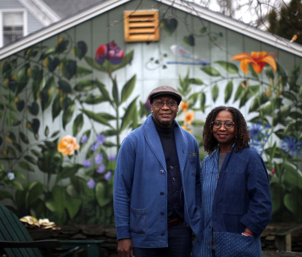 A mural outside their home in Deering supplies the backdrop for Daniel and Marcia Minter of Portland, co-founders of the Indigo Arts Alliance, which will help emerging artists of color find an avenue for mentorship, community and professional growth.