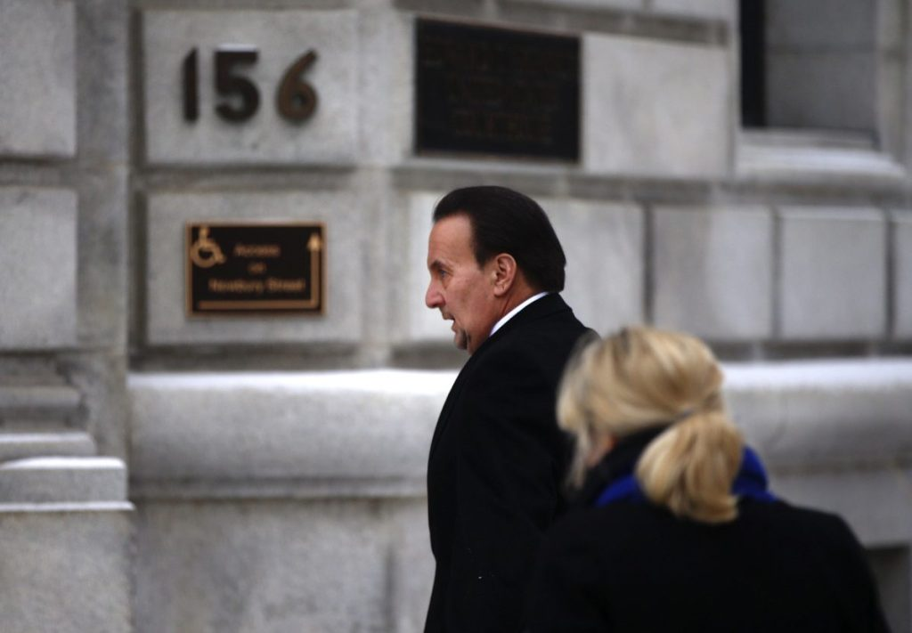 """Stephen Mardigan arrives for his sentencing hearing Tuesday. In a letter to the judge, he described his gambling and said, """"I now realize that I was out of control."""""""