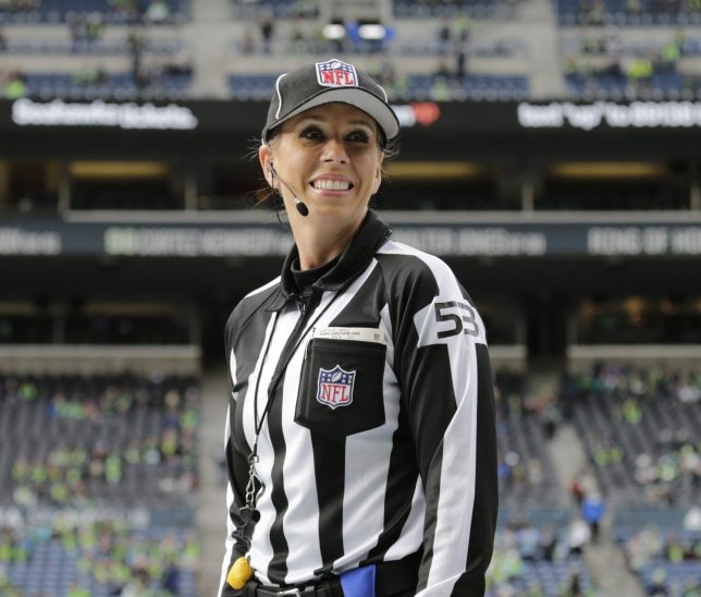 Official Sarah Thomas, in her fourth season at the NFL level, has been chosen to work the Patriots-Chargers game on Sunday and will become the first female official to wotk a playoff game in league history.