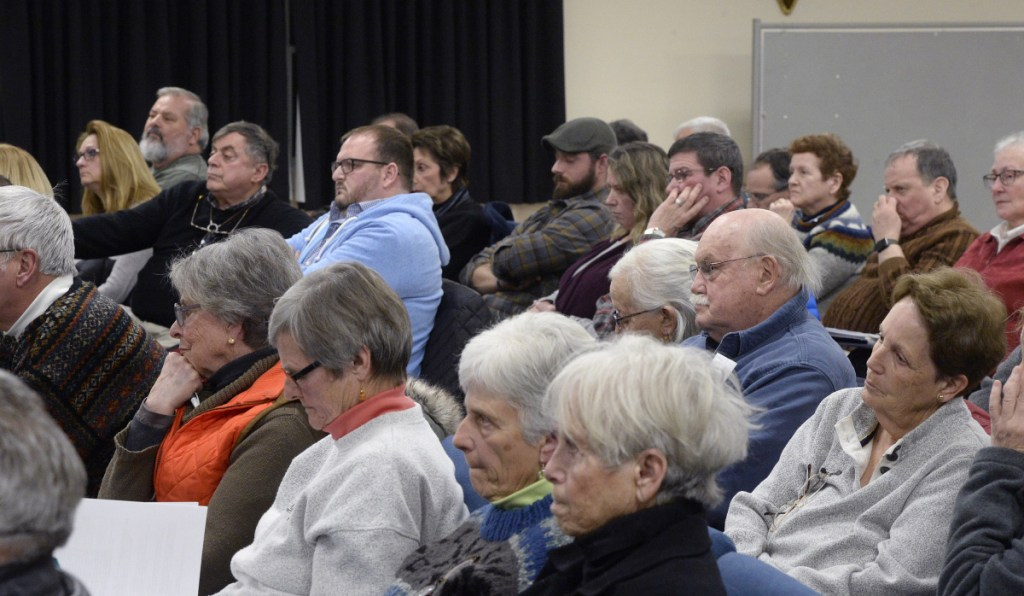 A meeting of the Ogunquit Select Board draws a crowd last Tuesday. Board members unanimously agreed to decide at its Feb. 5 meeting when the recall election would be held.